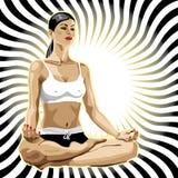 在莲花姿势的女子实践的瑜伽。抽象b 库存图片