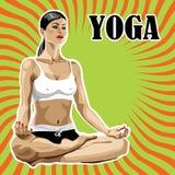 在莲花姿势的女子实践的瑜伽。抽象backg 免版税库存照片