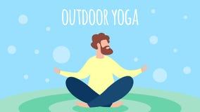 在莲花姿势,休闲的人思考的室外瑜伽 向量例证