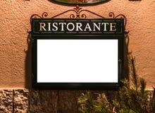 在菜单大模型之外的意大利语Resturant 免版税库存图片