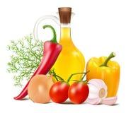 在菜和菜油的静物画 库存图片