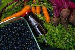 在菜食物,红萝卜,甜菜,石榴汁的维生素A 戒毒所 图库摄影