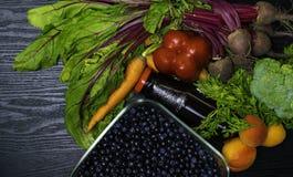 在菜食物,红萝卜,甜菜,红辣椒,杏子,硬花甘蓝,石榴汁的维生素A 戒毒所 图库摄影