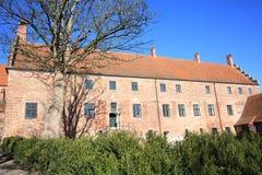 在菲英岛海岛,丹麦上的历史的欧登塞修道院 免版税库存照片