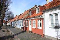 在菲英岛海岛,丹麦上的历史的Bogense 免版税库存图片