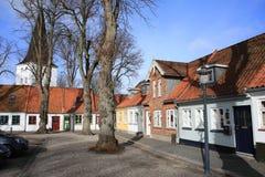 在菲英岛海岛,丹麦上的历史的Bogense 免版税库存照片