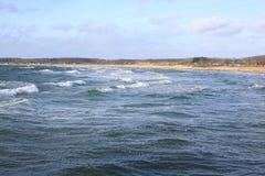 在菲英岛海岛,丹麦上的田园诗海边 库存照片