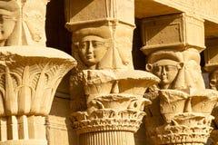 在菲莱寺庙的庭院的上部专栏装饰  库存照片