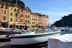 在菲诺港港口,利古里亚,意大利的看法 库存照片