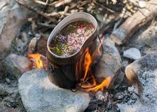 在营火的茶。 库存图片