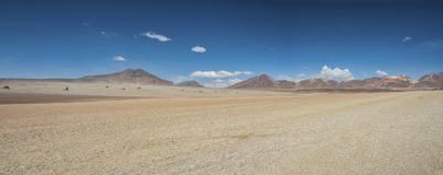 在萨尔瓦多・达利沙漠的全景在爱德华多Avaroa安地斯山的动物区系国家储备,玻利维亚 图库摄影