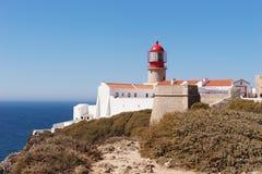 在萨格里什的灯塔Cabo的de SA£oo维森特 库存照片