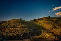 在萨莫色雷斯岛海岛上的小山植被在平均观测距离的希腊 库存照片