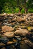 在萨莫色雷斯岛海岛上的Fonias河在横渡美丽的希腊 免版税库存照片