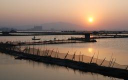 在落日的海湾 库存照片