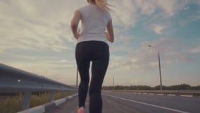 在落日的竞技课 一个运动的女孩一件白色T恤杉的,明亮的运动鞋的和有长的头发奔跑的 股票视频