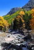 在落矶山脉的小小河 库存照片