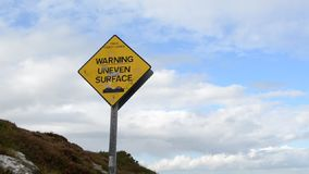 在落矶山脉走的轨道的参差不齐的表面标志由沿海在Howth,爱尔兰的本 影视素材