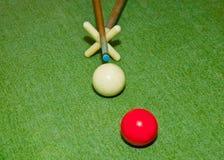 在落袋球球台的二个球 免版税图库摄影