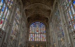 在著名国王` s学院里面的建筑学,剑桥,英国 免版税库存图片