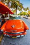 在著名海洋驱动的葡萄酒汽车在南的迈阿密 图库摄影