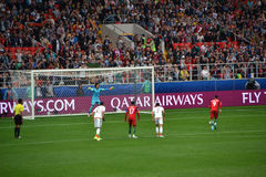 在葡萄牙和墨西哥之间的足球比赛在莫斯科2017年6月2日 库存图片