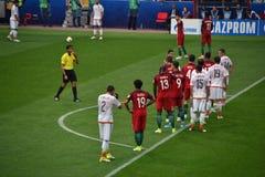 在葡萄牙和墨西哥之间的足球比赛在莫斯科2017年6月2日 免版税图库摄影
