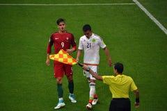 在葡萄牙和墨西哥之间的足球比赛在莫斯科2017年6月2日 图库摄影