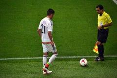 在葡萄牙和墨西哥之间的足球比赛在莫斯科2017年6月2日 免版税库存图片