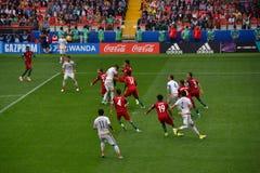 在葡萄牙和墨西哥之间的足球比赛在莫斯科2017年6月2日 免版税库存照片