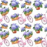在葡萄酒普罗旺斯样式的水彩花卉样式与桃红色自行车和紫色八仙花属花在篮子和大农场主 向量例证