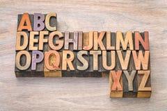 在葡萄酒木头类型的字母表摘要 免版税库存图片