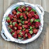 在葡萄酒板材的新鲜的草莓 库存照片