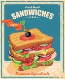 在葡萄酒样式的三明治海报 图库摄影