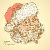 在葡萄酒样式的剪影圣诞老人 库存照片