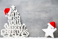 在葡萄酒样式的圣诞节背景 2007个看板卡招呼的新年好 免版税库存照片