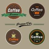 在葡萄酒样式的套传染媒介咖啡元素商标和标签 图库摄影