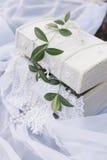 在葡萄酒样式的美丽的白色小箱站立在与一棵树的小树枝的一块白色布料在盖子的 免版税库存图片