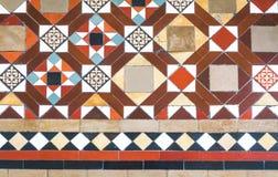 在葡萄酒样式的铺磁砖的地板纹理样式 免版税图库摄影