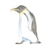 在葡萄酒样式的水彩逗人喜爱的pinguine 图库摄影
