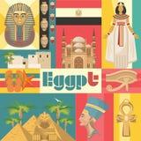 在葡萄酒样式设置的埃及五颜六色的传染媒介 在平的设计的埃及传统象 假期和夏天 库存照片
