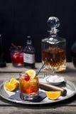 在葡萄酒样式酒吧的古板的鸡尾酒 免版税图库摄影