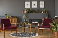 在葡萄酒的深红木扶手椅子平展内部与海报 免版税库存照片