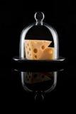 在葡萄酒盛肉盘的瑞士乳酪有在黑背景的玻璃盖的 免版税库存图片