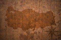 在葡萄酒纸背景的土耳其地图 免版税库存图片