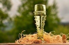 在葡萄酒绿色玻璃的酒 免版税库存照片