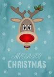 在葡萄酒蓝色背景的逗人喜爱的母驯鹿与文本圣诞快乐,圣诞卡设计 免版税库存图片