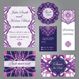 在葡萄酒装饰物样式的婚姻的集合 邀请;保存日期卡片;谢谢拟订;rsvp卡片;结婚的卡片 免版税库存图片