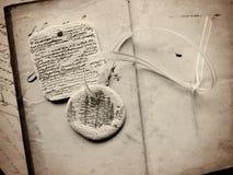在葡萄酒页的手工制造面团装饰品 免版税图库摄影