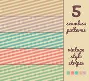 在葡萄酒颜色样式的5个无缝的抽象传染媒介条纹样式 库存照片